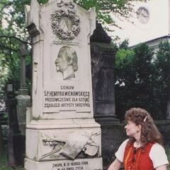Giving respects at Henryk Wieniawski's grave at the Powazki Cemetary in Warsaw, Poland