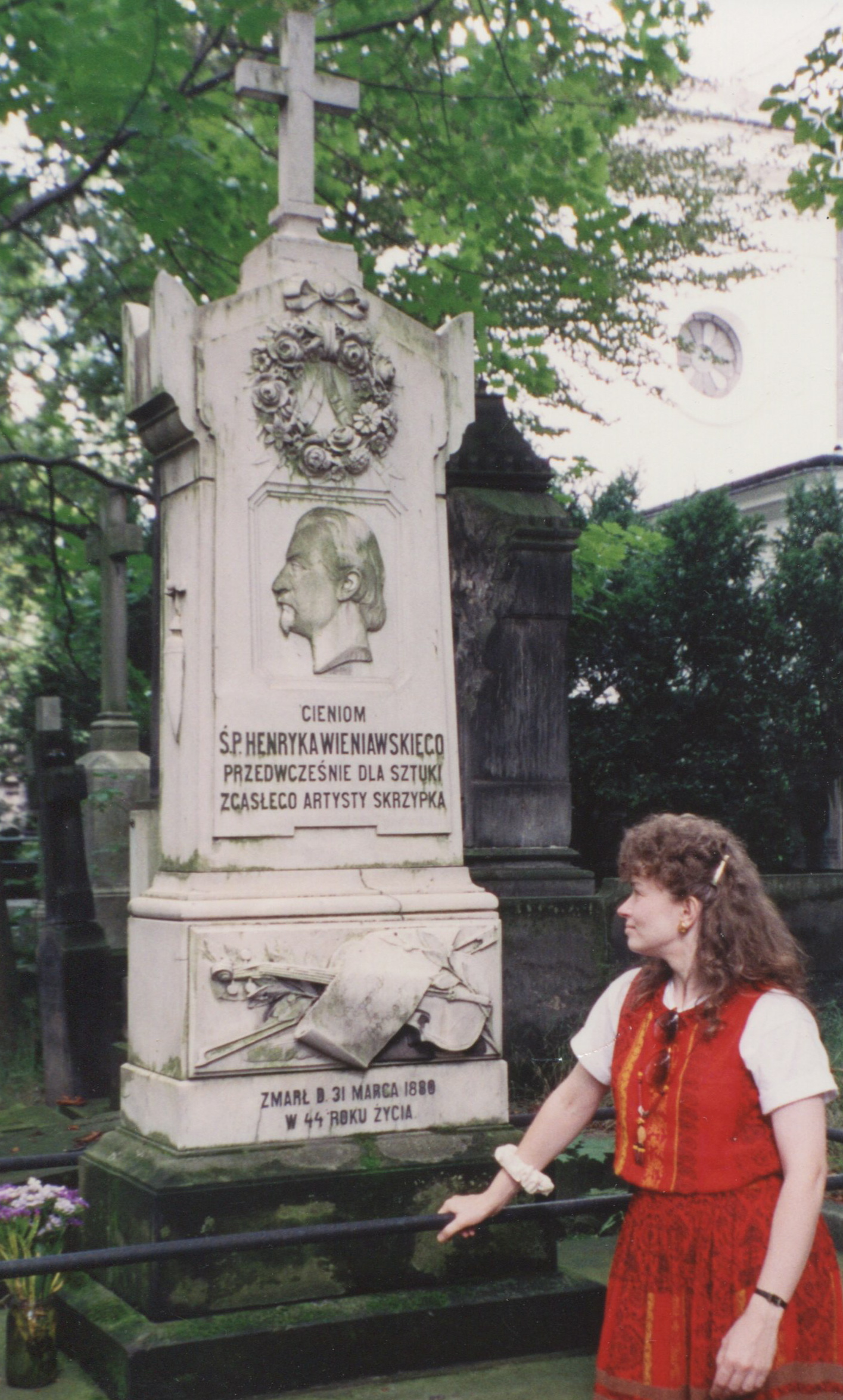Giving respects at Henryk Wieniawski's grave at the Powazki Cemetary in Warsaw, Poland